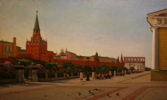 Работы художника Сергея Глушкова.. Москва. Вид на Троицкие ворота Кремля и Кутафью башню