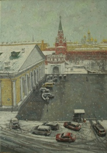 Работы художника Сергея Глушкова. Москва. Снег