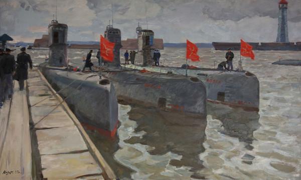 Подводные лодки на Кронштадском рейде. 1963 г. Художник К. Г. Молтенинов