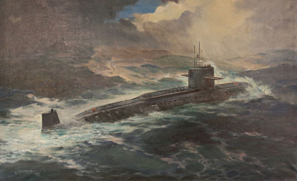 Ракетная подводная лодка уходит на задание Художник В. А. Печатин. 1987 г.