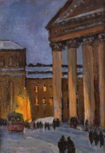 Дубровин Дмитрий Николаевич (1913-2002) «Москва. Перед началом спектакля». 1948
