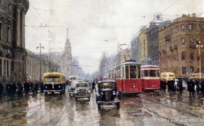 Ласточкин Сергей Павлович (1927-1992) «Невский проспект до реконструкции»