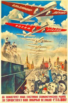 Советский плакат. Да здравствует наша счастливая социалистическая родина. Да здравствует наш великий Сталин!