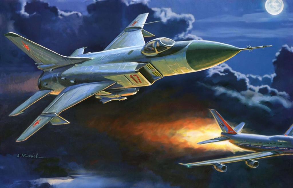Картина А. Жирнова, Су-15 сбивает корейский Боинг.