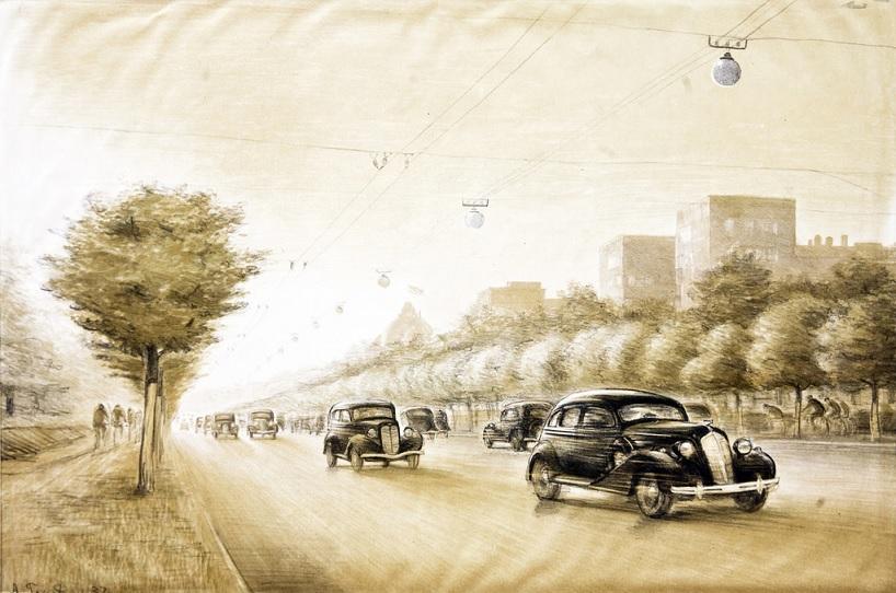 «Ленинградское шоссе» 1937 Гладун А. А. Тиражная графика 36 х 51 см