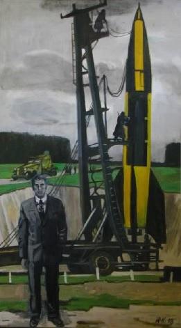 Вернер фон Браун на фоне ФАУ-2. Худ. Юрий Копейко. Выставка ...Из истории пилотируемой космонавтики»