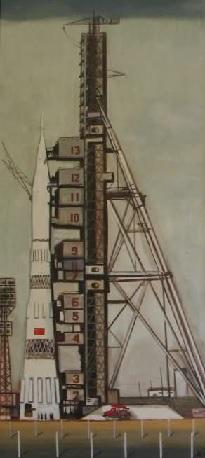 Художник Юрия Копейко. Н-1 Выставка работ ... Из истории пилотируемой космонавтики»