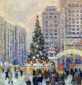 Бобышев Михаил Петрович (1885-1964) «Новогодняя елка на Манежной площади» 1947