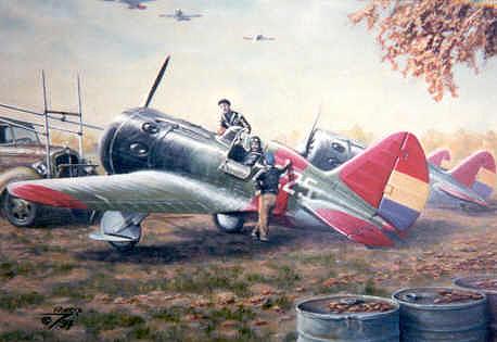 И-16 Испанской республики на картине «Dawn Patrol — The Ebro 1938»Художник: John Meeks