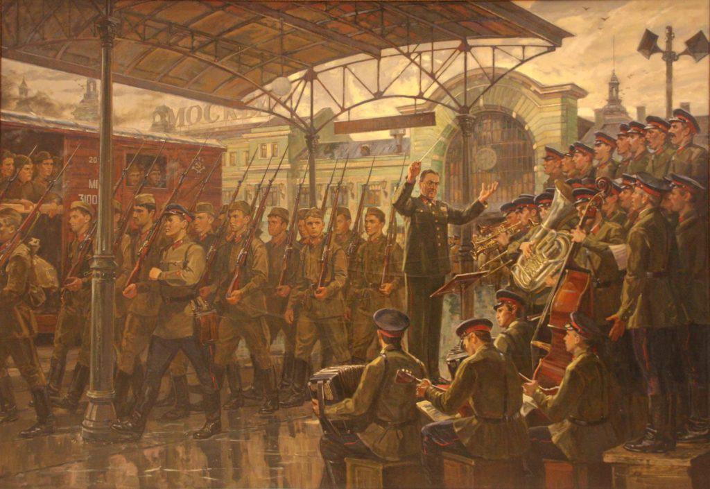 Ананьев Дмитрий. Ансамбль Александрова на Белорусском вокзале. 1941 год.