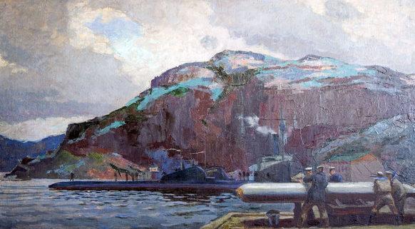 Цейтлин Наум. Погрузка торпед. Северный флот. 1942