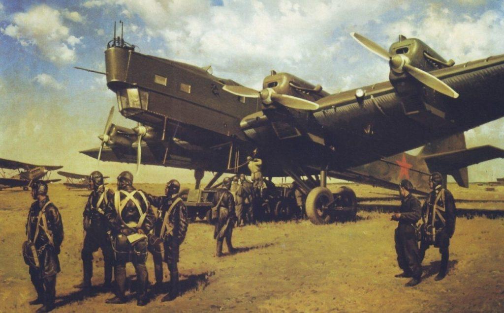 Сытов Александр. ТБ-3 готовится к вылету. (Туполева)