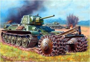 Жирнов Андрей. Танк Т-34-76 с минным тралом ПТ-3.