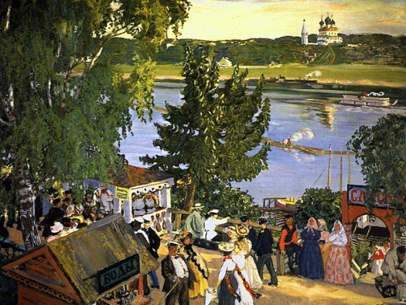 Борис Михайлович Кустодиев. Гуляние на Волге, 1909