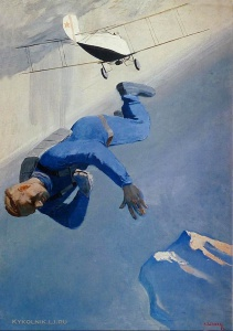 Дейнека Александр Александрович (1899-1969) «Парашютист над морем» 1934
