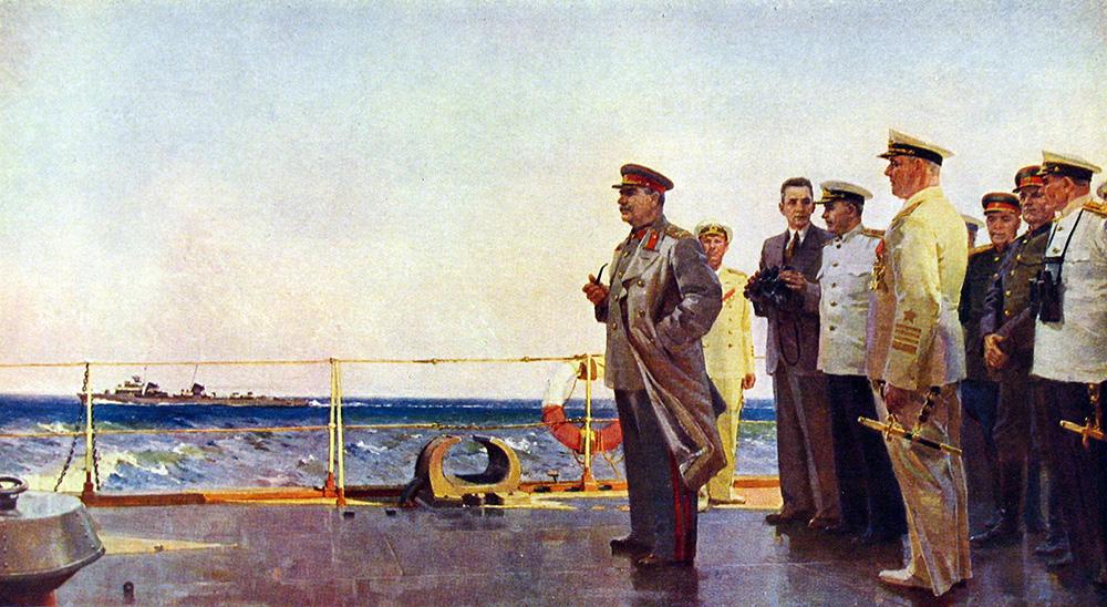 """«И.В. Сталин на крейсере """"Молотов""""». 1949 г. ПУЗЫРЬКОВ Виктор Григорьевич (1918-1999)"""