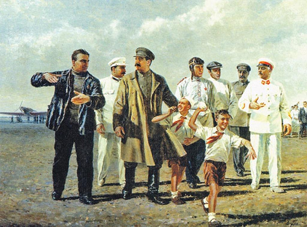 Картина художника П. Мальцева «Встреча героического экипажа».