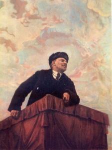 И. БРОДСКИЙ (1884-1939). В. И. Ленин на трибуне. 1927. Холст, масло. 71x53. Русский музей. Ленинград.