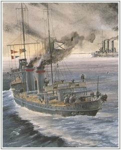 Постановка мин в Рижском заливе. Российский Императорский флот в акварелях В.С. Емишева