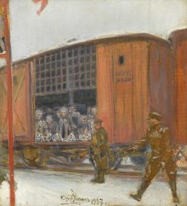 РЕПИН Юрий Ильич (1877-1954) «Заключённые на этапе». 1937 г. Холст, масло. 37,5 x 32 см. Частная коллекция, Швеция.