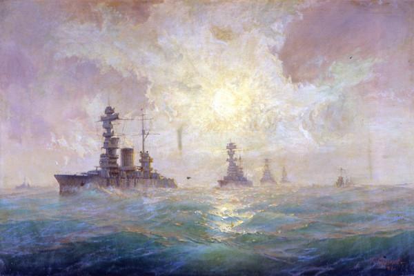 Балтийская эскадра в море. Худ. Г.В. Горшков. 1940