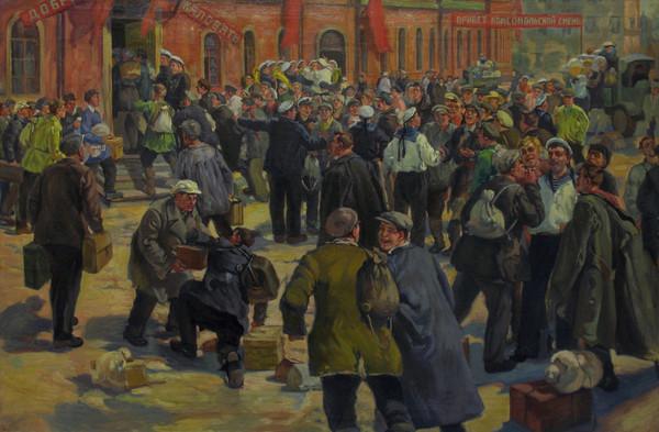 В.Е. ЖОГОЛЕВ. Прибытие во флот первого комсомольского пополнения. 1922 г., 1953