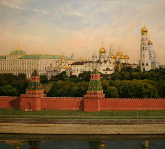 Кремль утром. Работы художника Сергея Глушкова