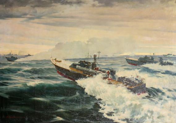 Торпедные катера Северного флота на учении. 1953 г. Художник В. К. Саморезов