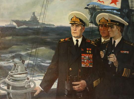 Групповой портрет на боевых учениях Художник В. А. Печатин. 1977 г.