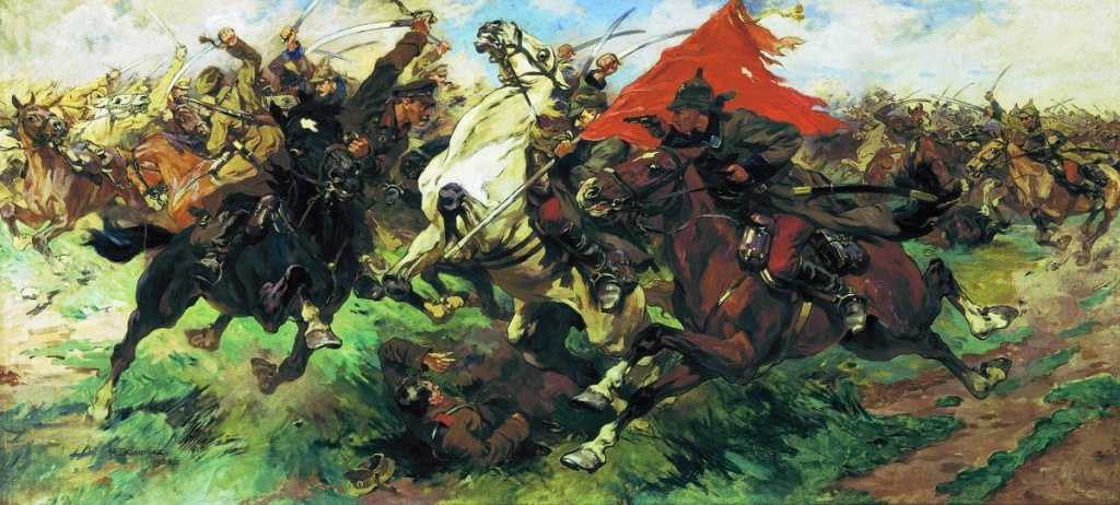 Н. C. Самокиш. «Бой за знамя. Атака», 1922, Музей вооруженных сил, Москва