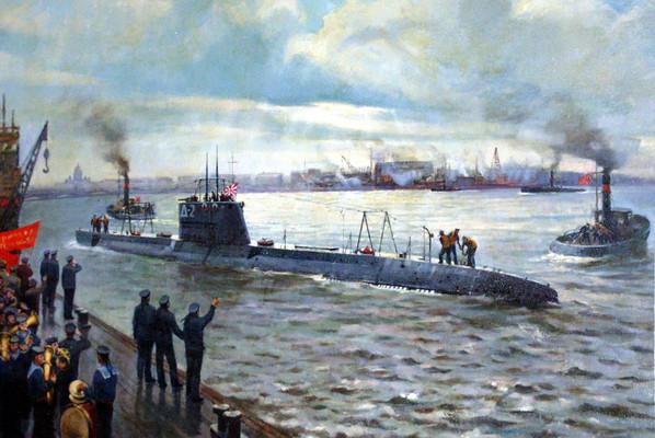 "Подводная лодка ""Народоволец"" после подъема военно-морского флага отходит от стенки Балтийского завода. В.А. Печатин. 1999"