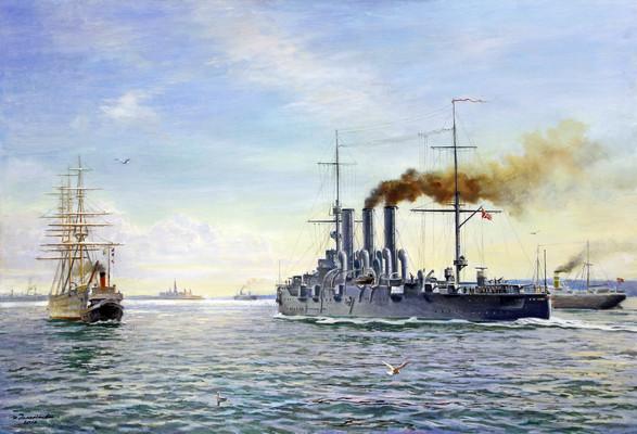 Крейсер «Аврора» в учебном плавании в проливе Зунд. 1924 год. И.Н. Дементьев. 2016