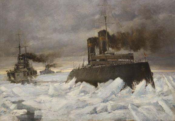 """Ледокол """"Ермак"""" проводит эскадру Балтийского флота 1918 г. Соколов К.А. 1939"""