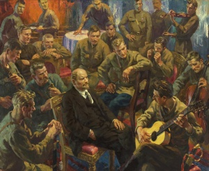 Отто Скулме. В.И. Ленин с латышскими стрелками в Кремле в мае 1918 года. 1957