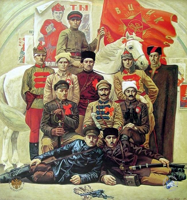 Красные командиры. 1920-е. Художник Виктор Псарев, 1985 год.