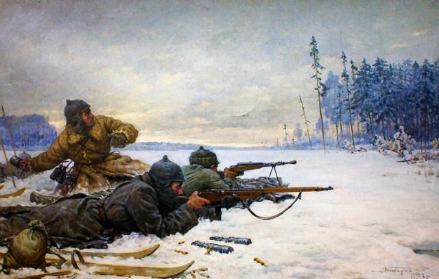 Подвиг начальника заставы Шмагрина, 27.12.1939 г.. Художник В.А. Токарев.