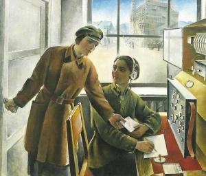 Бри-Бейн Мария Феликсовна (1892 - 1971). Женщины-радистки. Государственная Третьяковская галерея, Москва 1930