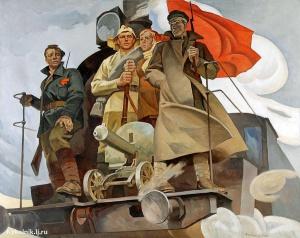 Барышников Револьд Владимирович (Россия, 1924-1985) «Наш паровоз» 1972. Мы мирные люди, но наш бронепоезд стоит на запасном пути!