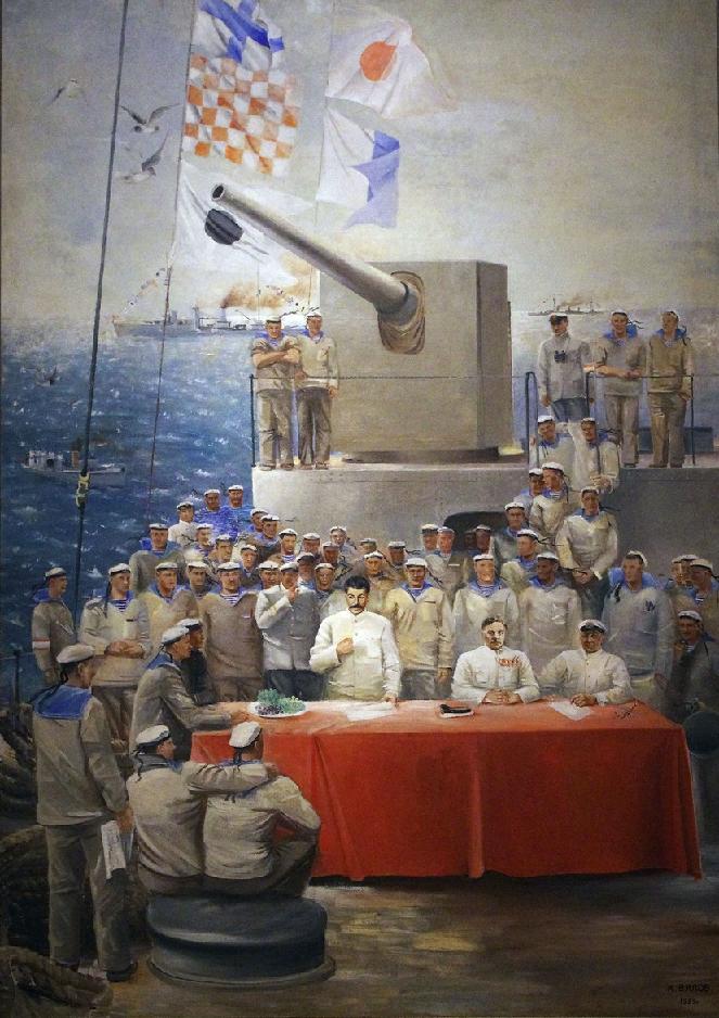 """И. Сталин и К. Ворошилов на крейсере """"Червона Украина"""".Картина Вялова 1933."""