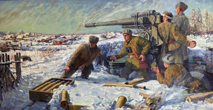 """Картина В.И. Коробкова """"Бой зенитчиков 3 декабря 1941 года"""". 1995"""