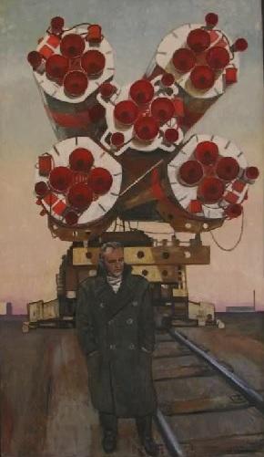 Сергей Павлович на фоне своего детища - Р-7. Выставка работ художника Юрия Копейко по космической тематике