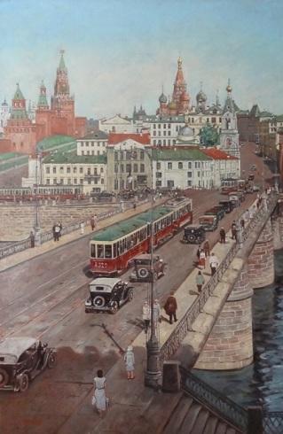 Москворецкий мост. Работы художника Сергея Глушкова.