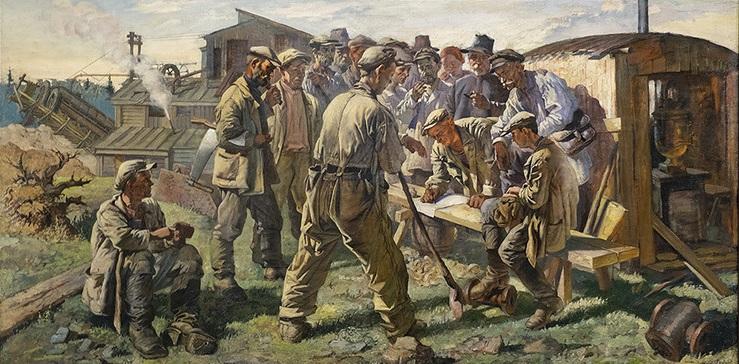 В.Н. Яковлев (1893-1953). Старатели пишут письмо творцу конституции И.В. Сталину, 1936