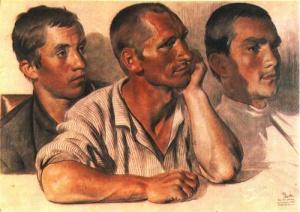 Е. Кацман. Слушают. Члены сельской комячейки. Уголь, сангина. 1925