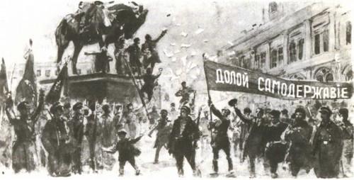 Г. Савицкий. Февральские дни в Петрограде 1917 года. Тушь, белила. 1917.