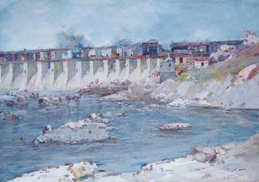 Строительство Днепрогэса (с картины художника Д. Безуглого, 1940 г.)