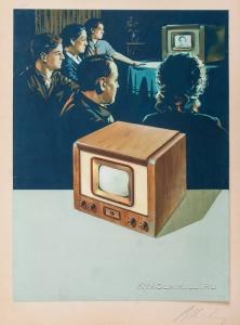 """Климашин Виктор Семенович (1912-1960) оригинал-макет рекламы «Телевизор """"Луч""""» для журнала «Огонек» 1956 г."""
