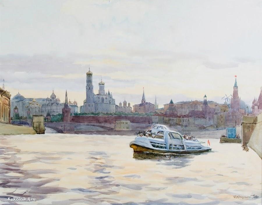 Купецио Ксения Конрадовна (Россия, 1911–1997) «Москва река. Вечер» 1956