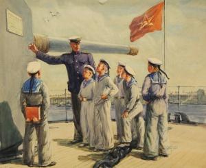 Соломон Самсонович Бойм (РОССИЯ 1899-1978) Нахимов кадетов на крейсер Аврора 1950