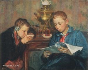 Владимирский Борис Еремеевич (Иеремеевич) «Пионеры слушают радио» 1924